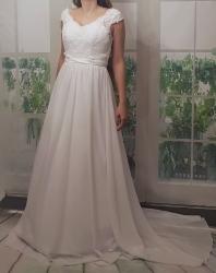 e068beda2abf bílé svatební šaty šifonové s krajkou