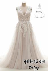 4276ef8c3ca svatební šaty krajkové bílopudrové na r.