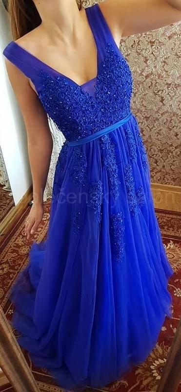 5166ed8f98b1 královsky modré společenské šaty krajkové na ramínka tylové