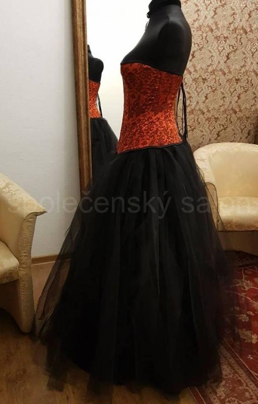 plesové šaty dvoudílné červenočerné gothic aec7de7e01