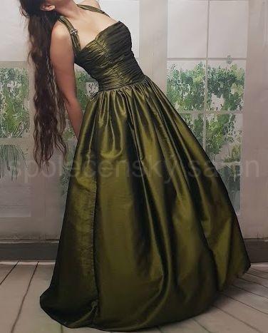 Clare zelené plesové šaty s ramínkem za krk c349efcdc6
